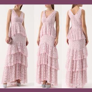 NEW $748 Tadashi Shoji Lace Ruffle V-Neck Gown 12